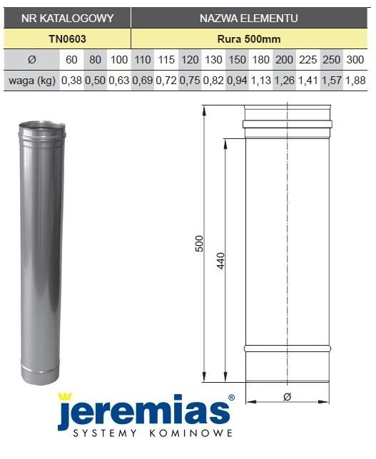 Rura spalinowa TN0603 - dane techniczne