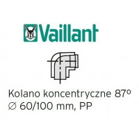 Vaillant kolano 87° koncentryczne 60/100 mm, PP kolano do komina kod 303910