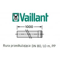 Vaillant rura 1000 mm fi 80 rura do komina PP kod 303253