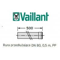 Vaillant rura 500 mm fi 80 rura do komina PP kod 303252