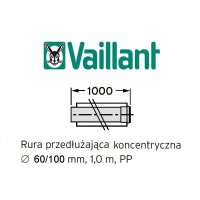 Vaillant rura koncentryczna 1000 mm fi 60/100 rura do komina PP 303903