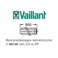 Vaillant rura koncentryczna 500 mm fi 60/100 rura do komina PP 303902