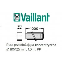 Vaillant rura koncentryczna 1000 mm fi 80/125 rura do komina PP 303203