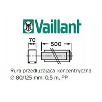 Vaillant rura koncentryczna 500 mm fi 80/125 rura do komina PP 303202